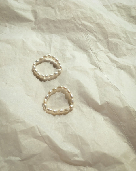 Delicate rings made from minuscule pearls by The Hexad