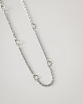 Delicate silver necklace with mini hearts @thehexad