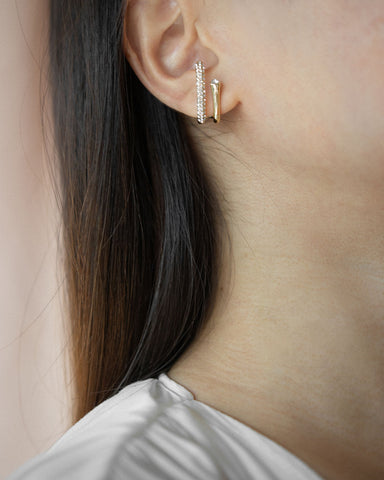 Double bar earrings that only require a single piercing - Duet suspender earrings by The Hexad