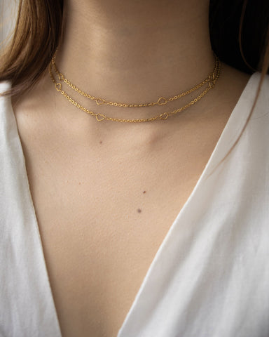 Double layer chain choker with gold hearts - Adore chain by The Hexad