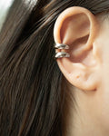 Double layer ear stack cult ear cuffs in silver by @thehexad
