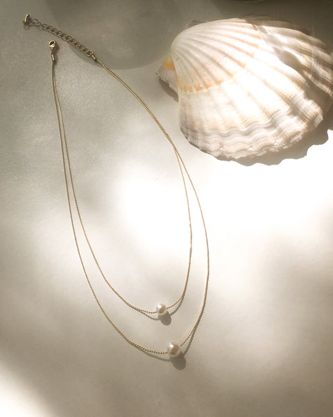 Double layer pearl necklace on a thin gold chain - The Hexad