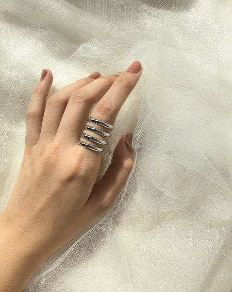 Double loop ring in silver - The Hexad Jewelry
