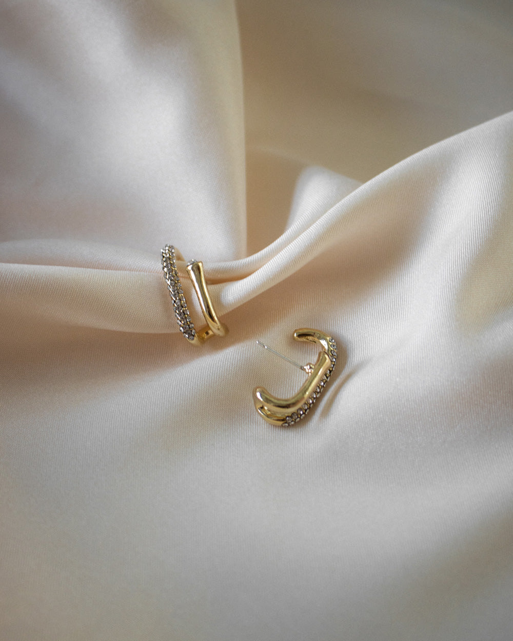 Duet Suspender Earrings in Gold by The Hexad