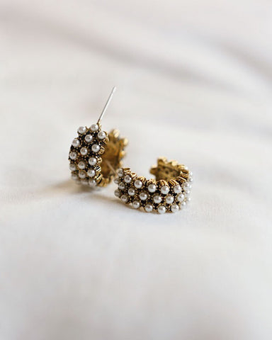Elegant and feminine, these pearl hoops set in antique gold are a stunner - THE HEXAD Jewelry