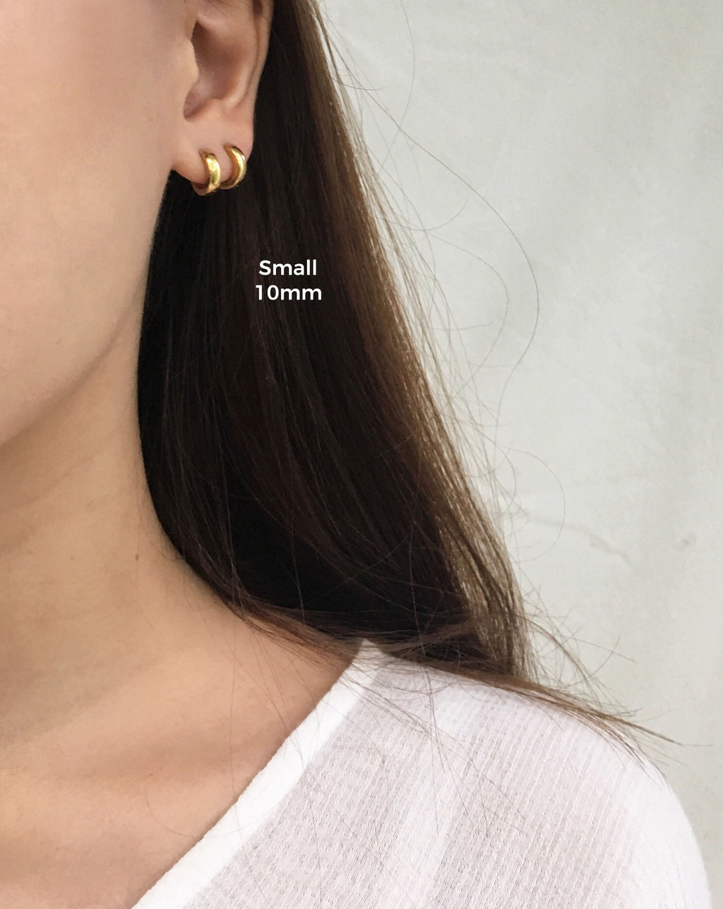 Extra tiny continuous hoop earrings with hinged closure - Ise Hoops in 10mm outer diameter fits snugly around earlobes - TheHexad