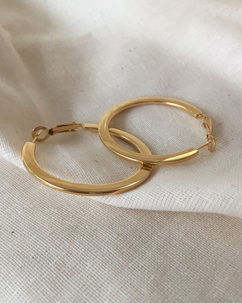 FAYE Flat Hoops in Gold - The Hexad Jewelry