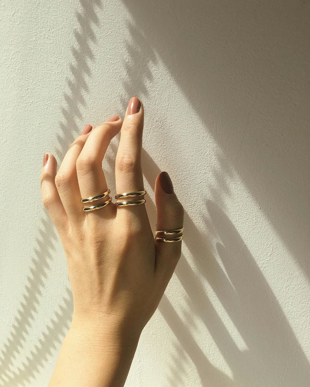 Gold Double Loop Rings - The Hexad Jewelry