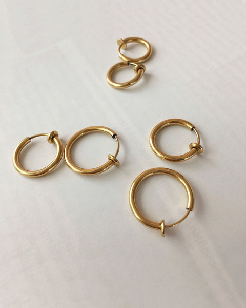 Gold Retractable hoops in 3 sizes - perfect for creating a layered hoop earring stack - The Hexad