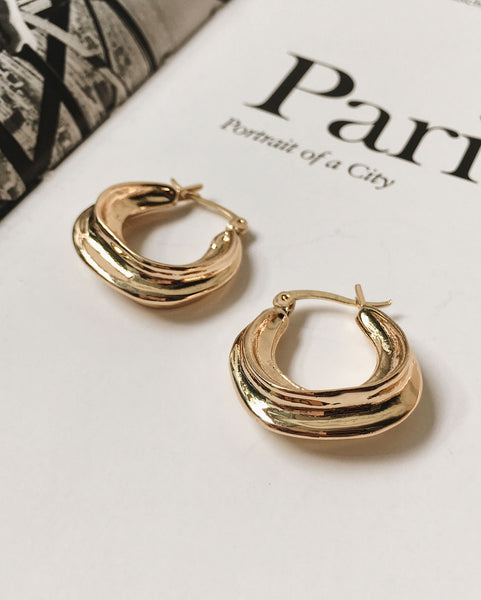 Gold U-shape Hoops with topography-like texture - TheHexad