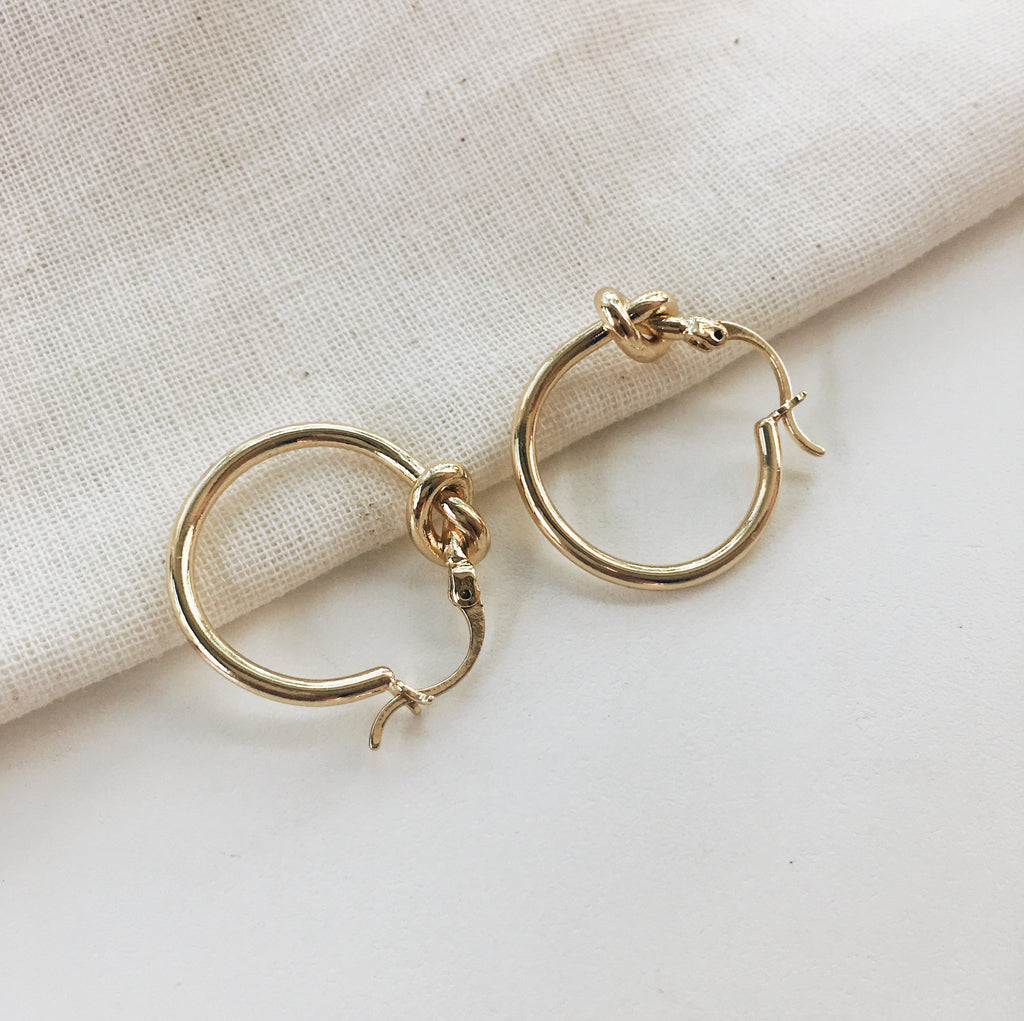 Gold Ukiko Hoops - featuring a small knot in the hoop - TheHexad