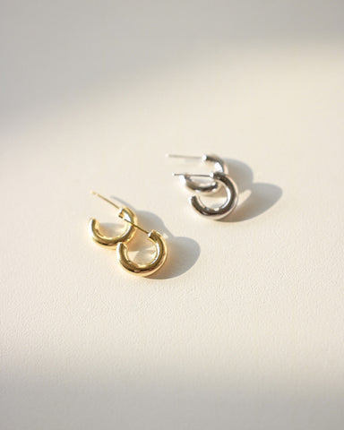 Gold and silver small chunky hoop earrings - Donut Hoops by The Hexad