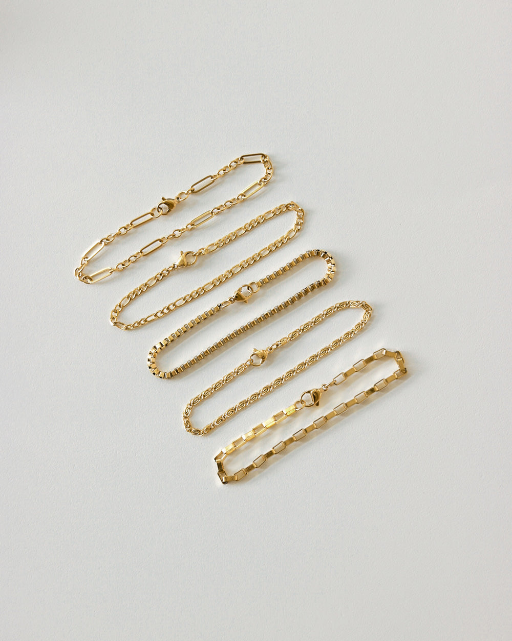 Gold bracelets to be worn singly on its own or to layer on multiple strands - The Hexad
