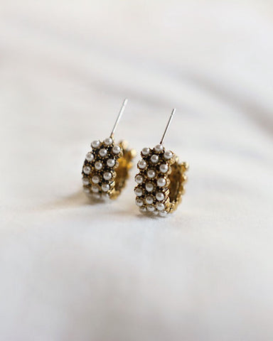 Golden hoops embellished with tiny faux pearls - The Hexad