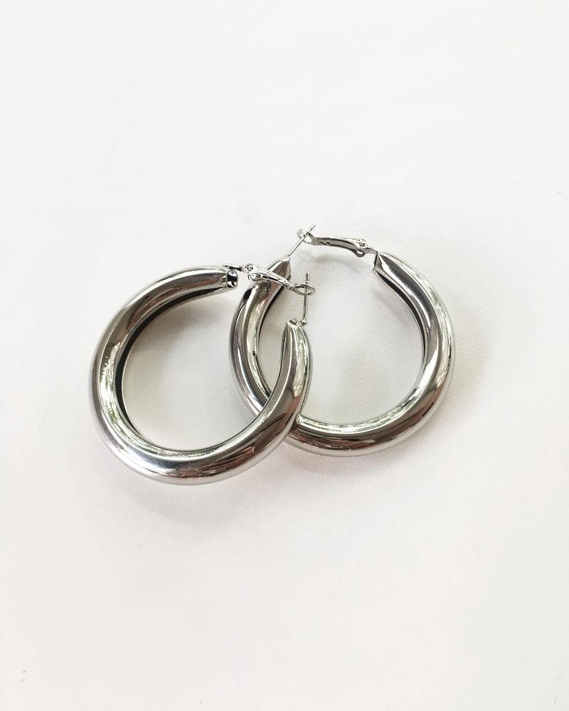 HARU Tube Hoops in Silver - The Hexad Earrings