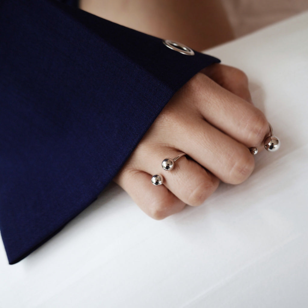 Set of two rings perfect for stacking, 925 sterling silver - The Hexad Jewelry
