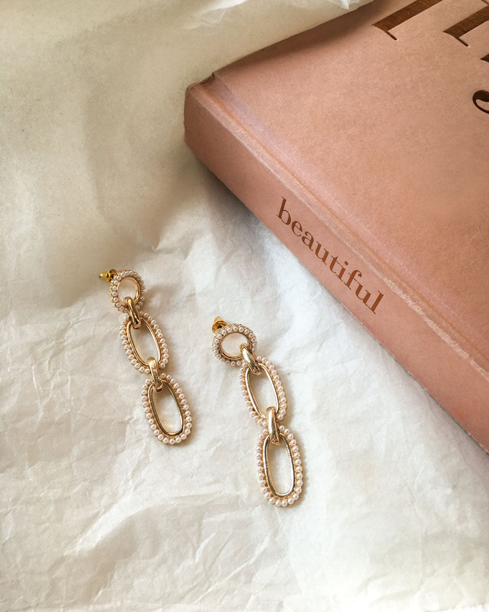 Interlink oval shape drop earrings embellished with tiny little faux pearls - The Hexad