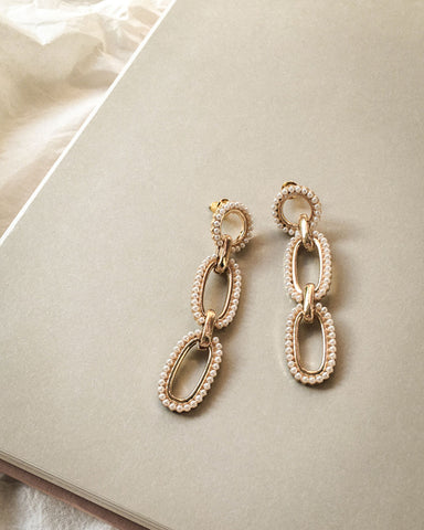 Intricate pearl details of the Gianna earrings by THE HEXAD