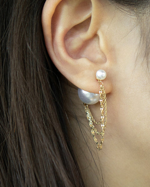Korean style dramatic earrings with faux pearls and golden chains - The Hexad