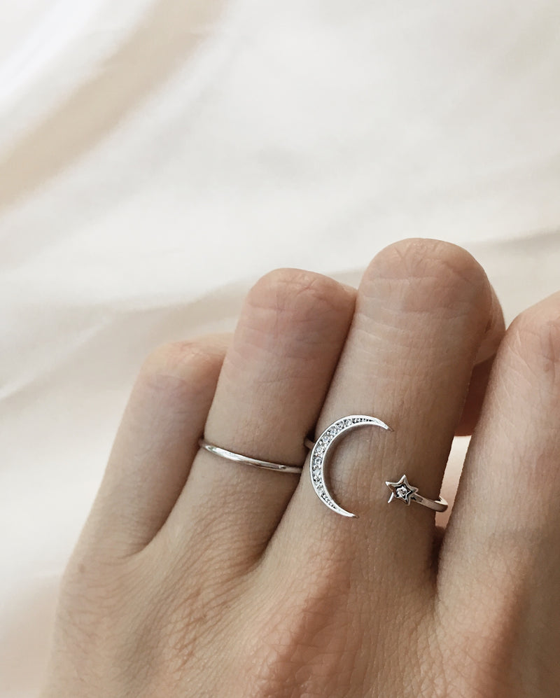 check out 5518b f73bd LUNAR Crescent Moon and Star Ring Set in Silver