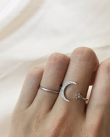 LUNAR Crescent Moon and Star Ring Set in Silver