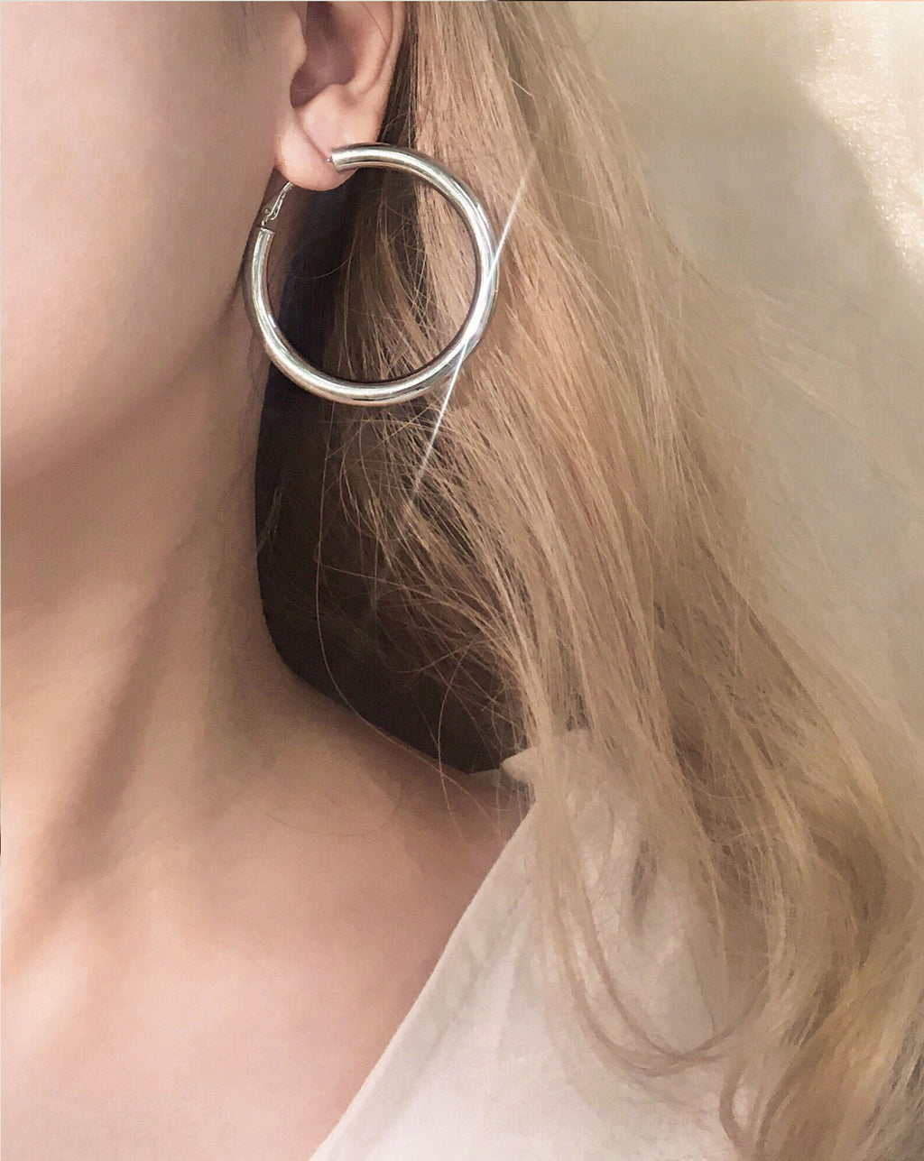 Large statement 48mm diameter silver hoops with 5mm thickness - TheHexad