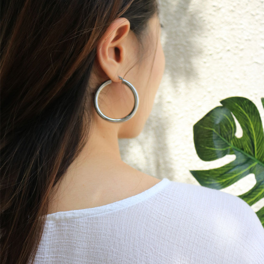 Large statement thick silver hoops - Kai Hoops by TheHexad