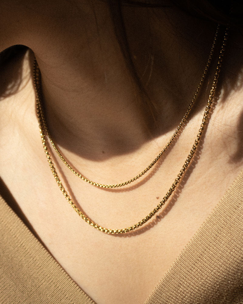 Layer these box beaded chain necklaces in varying lengths for a stacked effect - The Hexad