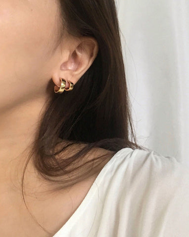 Layering the mini Juju hoops in gold - The Hexad