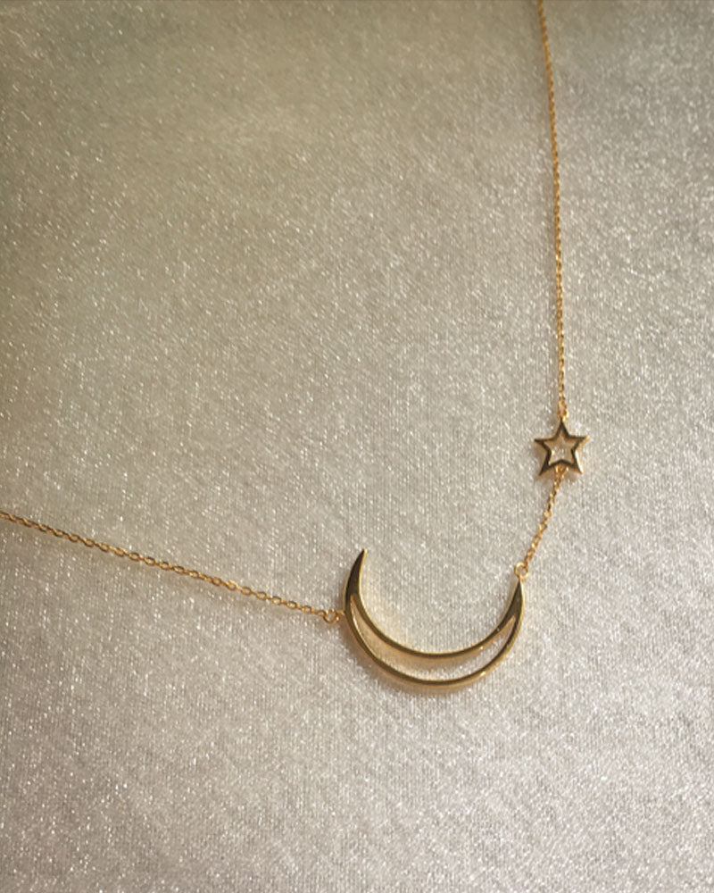 Little star and sleek crescent moon charms on a gold-plated S925 chain necklace - The Hexad Jewelry