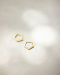 Minimalist pentagon shape hoop earrings designed by @Thehexad