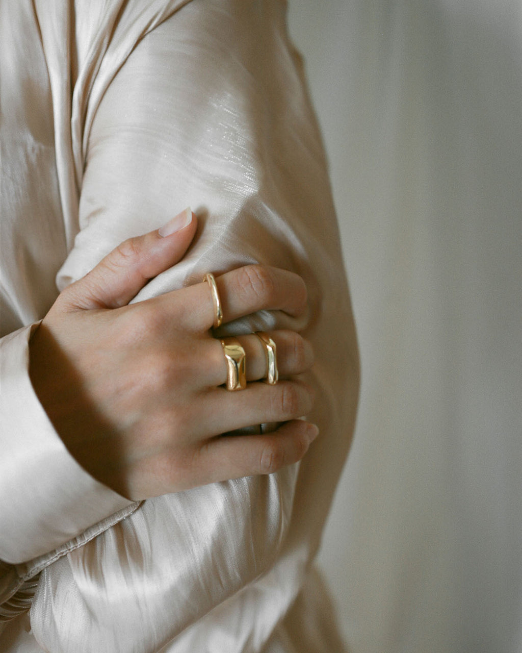 Minimalist square signet gold rings in a set of three - Sage Rings by The Hexad