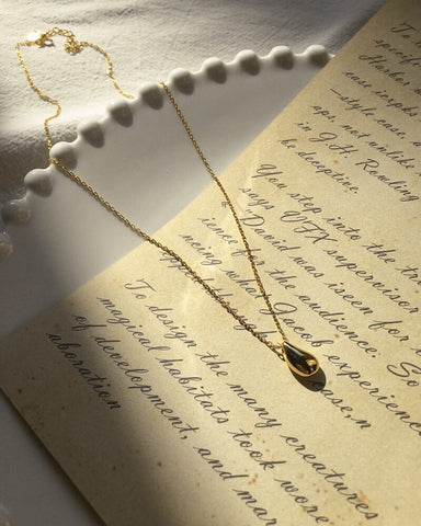 Teardrop Pendant Necklace in Gold by The Hexad Jewelry