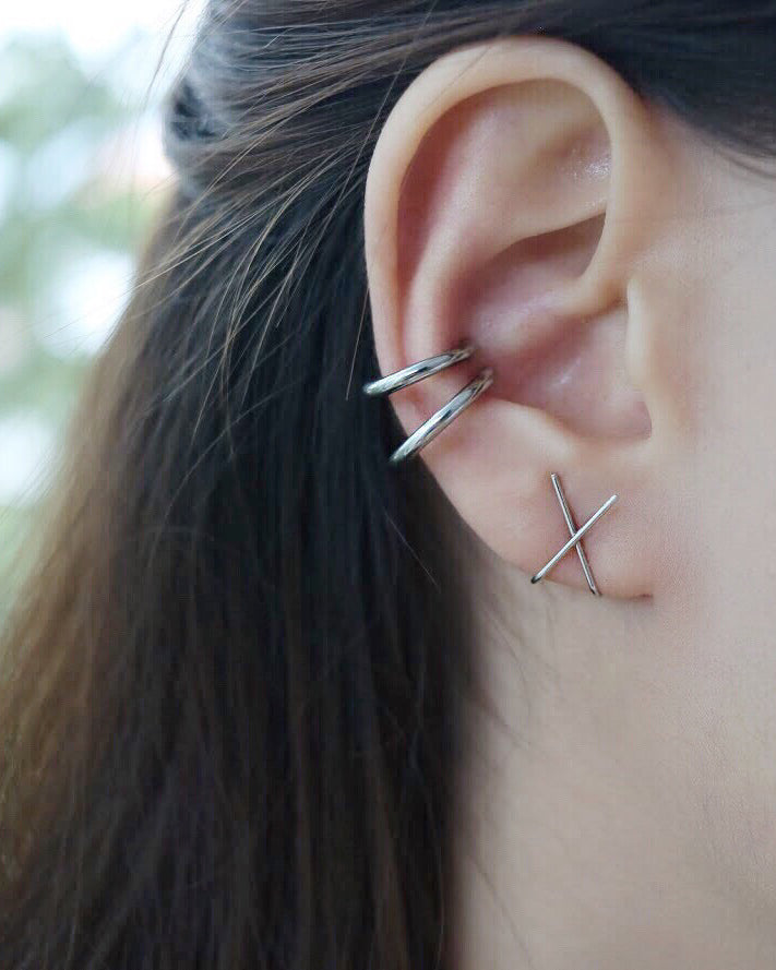 Mix and match styles from The Hexad pierceless collection - Retractable hoops and Cross Ear Cuff