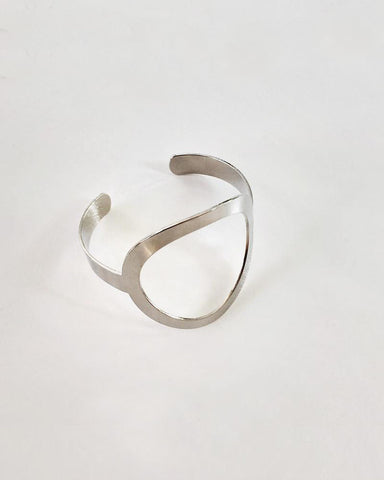 OVAL Cut Out Cuff Bangle in Silver - The Hexad