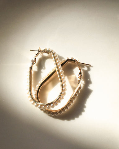 Oval shaped pearl earrings with omega clasp backer - The Hexad's OVAL YOU HOOPS