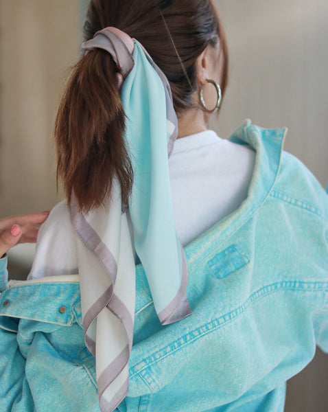 Pastel colored silky pony hair scarf bandana - perfect spring season accessory - TheHexad