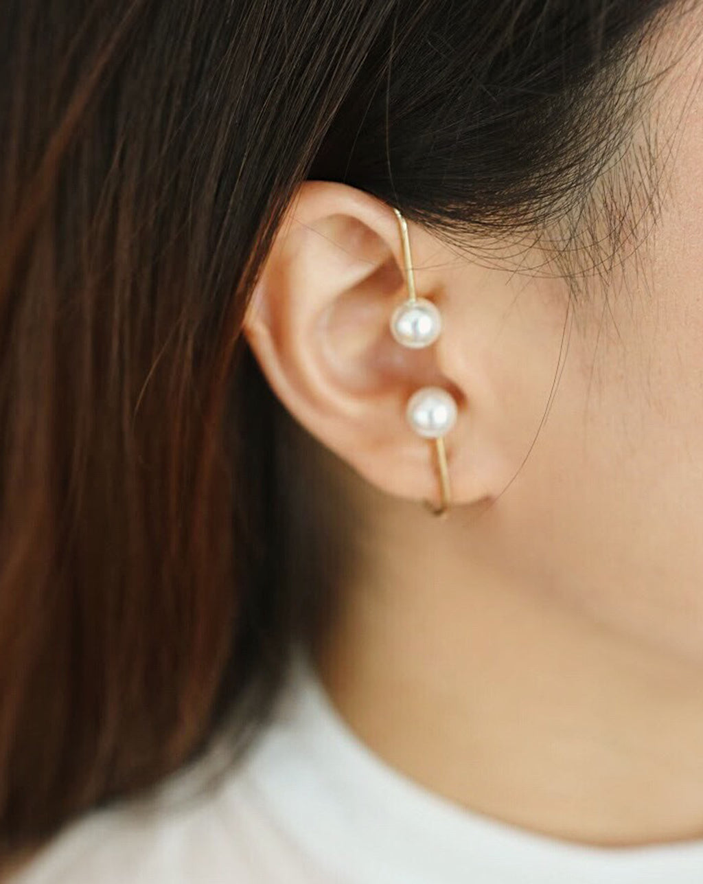 Krys Pearl Ear Cuff in Gold - The Hexad Jewelry