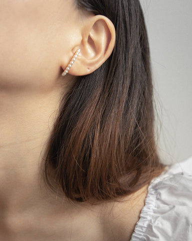 Pearl suspender lobe cuff earrings by thehexad.com
