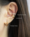 Pentagon hoops layered with the Cult and Moonshine ear cuffs - The Hexad