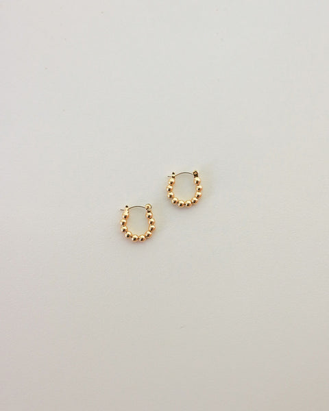 Petite hoop earrings with a gold beaded design - The Hexad