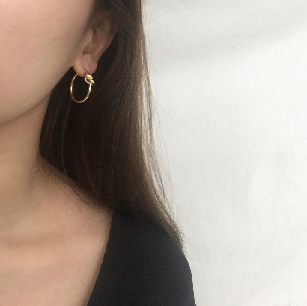 Petite hoops with a little twisted knot at the front - The Hexad Earrings