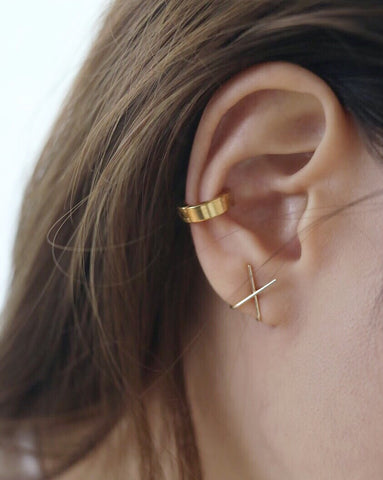 Chunky stackable bold ear cuffs in gold - Bullet earrings by The Hexad
