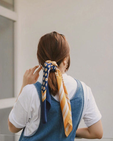 Polka Dot Hair Pony Tie Scarf in Marigold - The Hexad