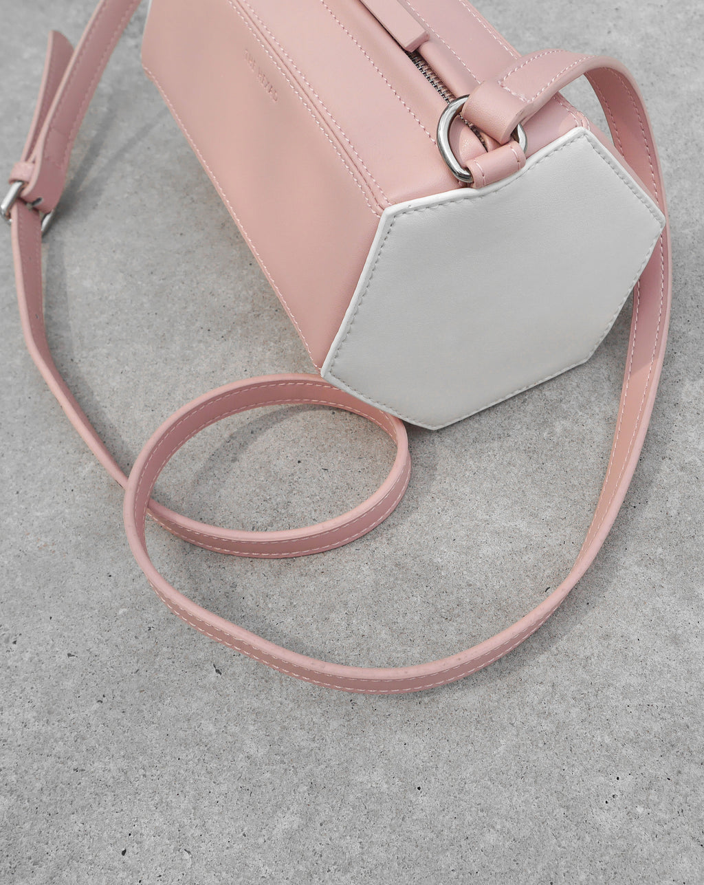 Quirky contrasting color crossbody in baby shell pink and white - The Hexad Bags