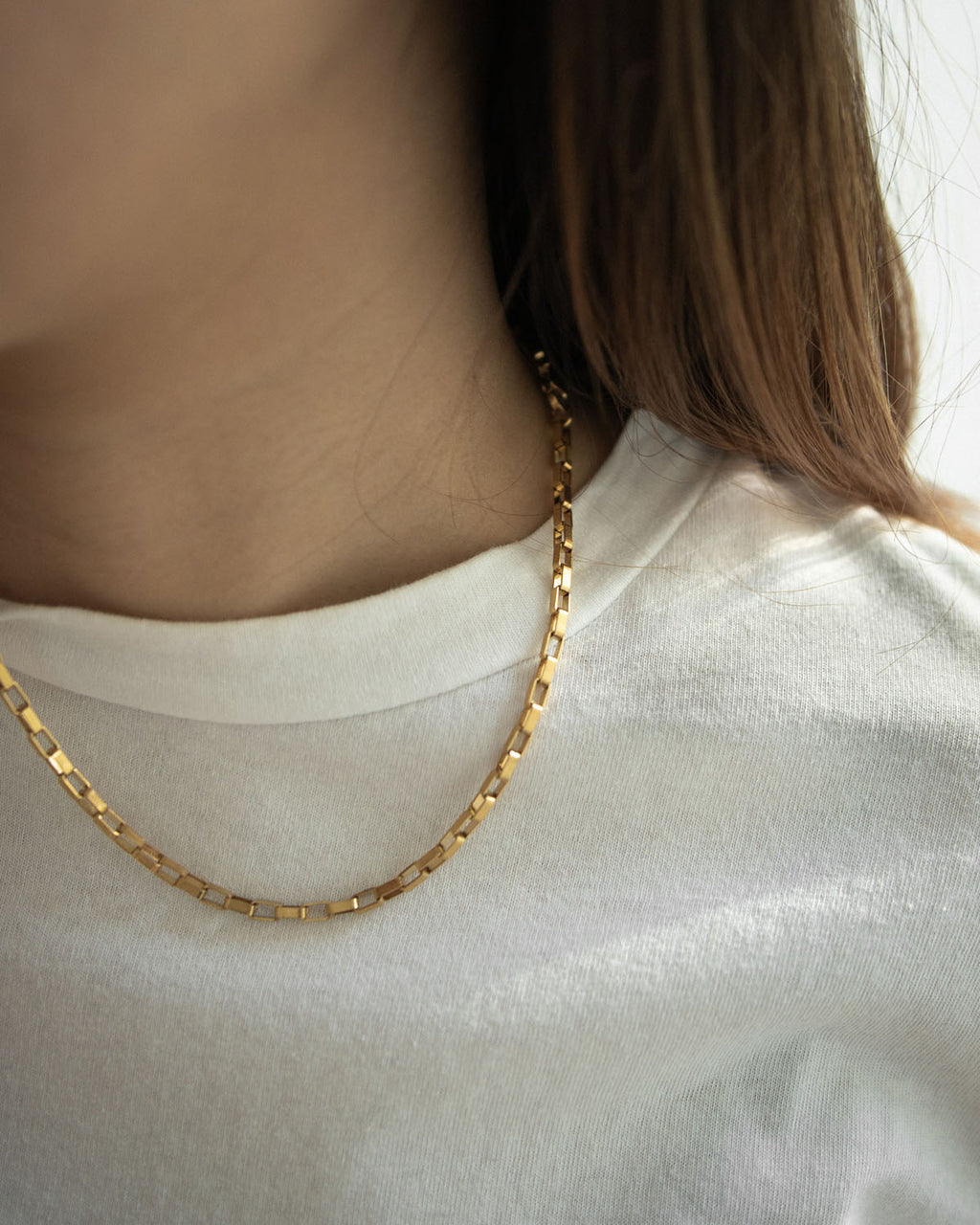 Rectangle chain link necklace in vintage-gold finish @thehexad
