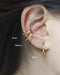 Retractable ear cuffs worn as a fake conch piercing - available in 3 sizes by The Hexad