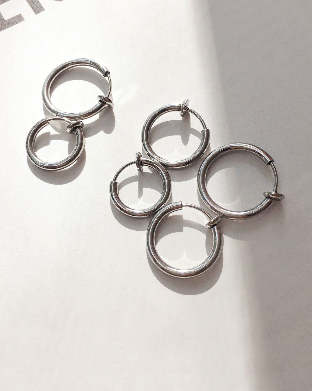 Retractable hoops in 3 sizes - perfect for creating a layered hoop stack for non-pieced ears - The Hexad