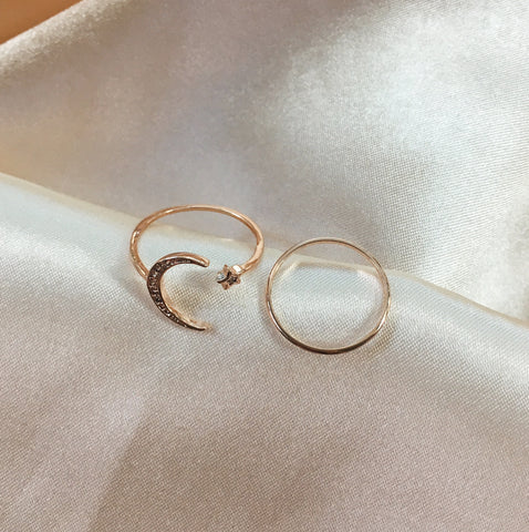 Rose Gold Lunar Crescent Moon and Star Ring Set - TheHexad