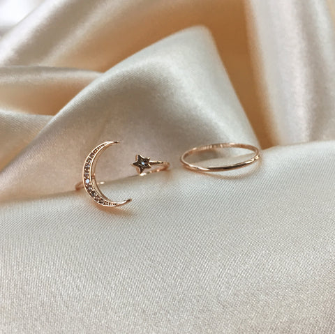 Rose gold Crescent moon and star with sparkly zirconia stones - Lunar Ring Set - TheHexad